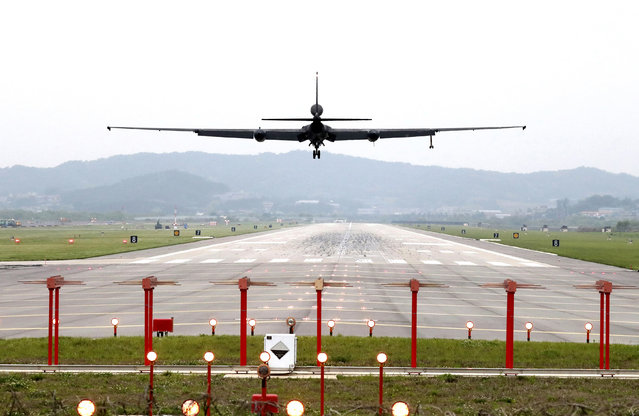A U.S. Air Force U-2 spy plane prepares to land as South Korea and the United States conduct the Max Thunder joint military exercise at the Osan U.S. Air Base in Pyeongtaek, South Korea, Wednesday, May 16, 2018. North Korea on Wednesday canceled a high-level meeting with South Korea and threatened to scrap a historic summit next month between President Donald Trump and North Korean leader Kim Jong Un over military exercises between Seoul and Washington that Pyongyang has long claimed are invasion rehearsals. (Photo by Kwon Joon-woo/Yonhap via AP Photo)