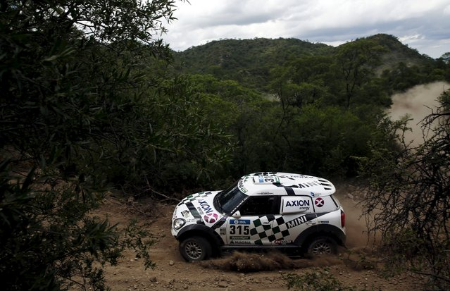 Mikko Hirvonen of Finland drives his Mini during the 12th stage of the Dakar Rally 2016 in Cordoba province, Argentina, January 15, 2016. (Photo by Marcos Brindicci/Reuters)