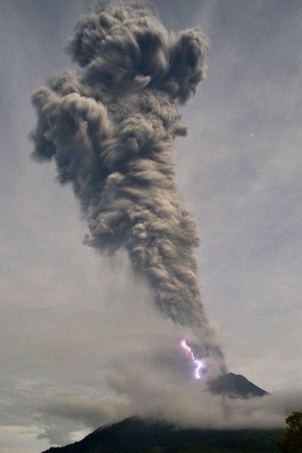 This picture taken in Karo on November 19, 2013 shows Sinabung volcano spewing volcanic ash and hot smoke in Karo. (Photo by Sutanta Aditya/AFP Photo)