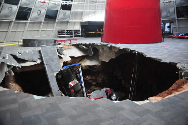 National Corvette Museum photo shows a sink hole that swallowed eight Corvettes in Bowling Green, Kentucky in this image released to Reuters on February 12, 2014.   (Photo by Reuters/National Corvette Museum)