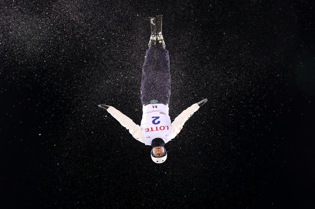 Anton Kushnir of Belarus performs an aerial during an Aerials training session prior to the FIS Freestyle World Cup at Bokwang Snow Park on February 8, 2017 in Pyeongchang-gun, South Korea. (Photo by Cameron Spencer/Getty Images)