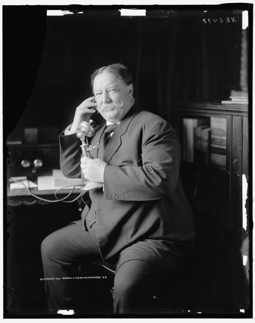 President William Howard Taft on the phone. Taft was the 27th U.S President serving from 1909 – 1913.(Photo by Harris & Ewing Collection/Library of Congress)