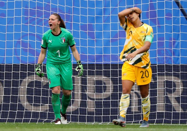 Goalkeeper of Italy Laura Giuliani reacts during the 2019 FIFA Women's World Cup France group C match between Australia and Italy at Stade du Hainaut on June 9, 2019 in Valenciennes, France. (Photo by Bernadett Szabo/Reuters)
