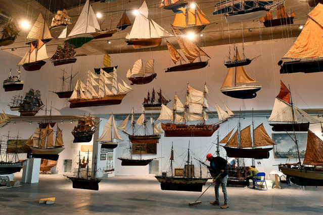 Models sailboats are displayed in the new Marine Museum (Musee de la Mer Marine – MMM) in Bordeaux on June 18, 2019. After several delays, the Marine Museum (Musee de la Mer Marine - MMM) designed and funded by a real estate developer, Norbert Fradin, officially opens to the public on June 21, 2019 in a northern district of Bordeaux. (Photo by Georges Gobet/AFP Photo)
