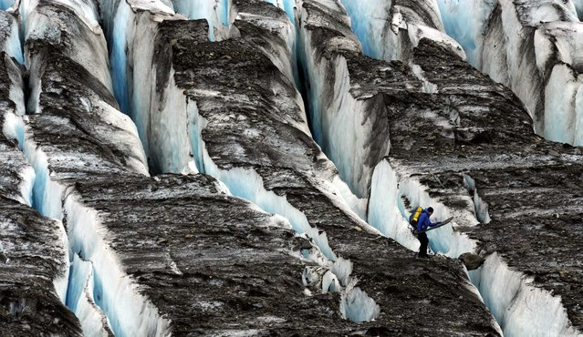 A Joint Task Force-Alaska Team member negotiates the crevasses on Colony Glacier as debris from a suspected 1952 crash of a U.S. Air Force C-124 Globemaster with 52 people is recovered on July 12, 2012