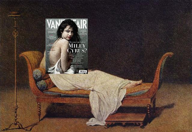 Quirky Magazine covers: Miley and Recamier. (Photo by Eisen Bernard Bernardo/Caters News)