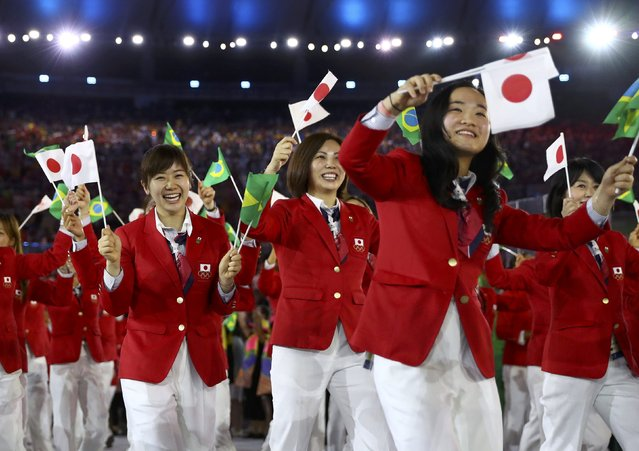 2016 Rio Olympics, Opening ceremony, Maracana, Rio de Janeiro, Brazil on August 5, 2016. Japan's team arrives for the opening ceremony. (Photo by Kai Pfaffenbach/Reuters)