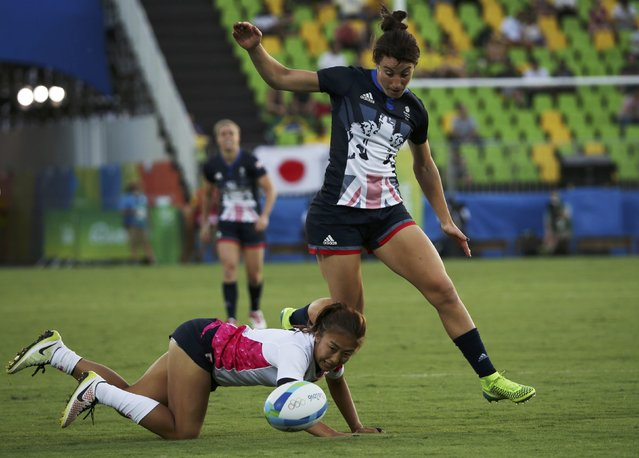 2016 Rio Olympics, Rugby, Preliminary, Women's Pool C Britain vs Japan, Deodoro Stadium, Rio de Janeiro, Brazil on August 6, 2016. Alice Richardson (GBR) of United Kingdom and Marie Yamaguchi (JPN) of Japan fight for the ball. (Photo by Alessandro Bianchi/Reuters)