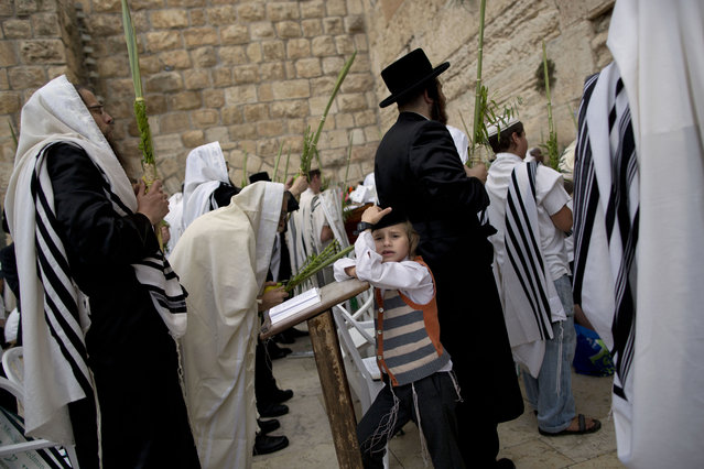 Covered in prayer shawls, Ultra-Orthodox Jewish men participate in a blessing during the holiday of Sukkot, in front of the Western Wall, the holiest site where Jews can pray in Jerusalem's Old City, Wednesday, September 30, 2015. The Cohanim, believed to be descendants of priests who served God in the Jewish Temple before it was destroyed, perform a blessing ceremony of the Jewish people three times a year during the festivals of Passover, Shavuot and Sukkot. (Photo by Oded Balilty/AP Photo)