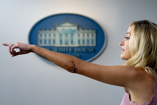 White House press secretary Kayleigh McEnany calls on a reporter during a press briefing at the White House, Monday, Aug. 31, 2020, in Washington. (Photo by Andrew Harnik/AP Photo)