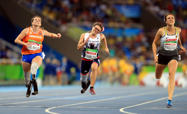 Marlou Van Rhijn (L) of the Netherlands finishes first in the Women's 100m – T44 Final during the Athletics competition at the Olympic Stadium during the Paralympic Games, Rio de Janeiro, Brazil, Saturday 17 September 2016. (Photo by Adam Davy/PA Wire)