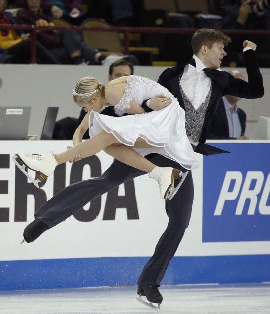 Anna Yanovskaya and Sergey Mozgov of Russia perform during the ice dance short program at the Skate America figure skating competition in Milwaukee, Wisconsin October 23, 2015. (Photo by Lucy Nicholson/Reuters)