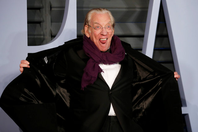 Actor Donald Sutherland attends the 2018 Vanity Fair Oscar Party hosted by Radhika Jones at Wallis Annenberg Center for the Performing Arts on March 4, 2018 in Beverly Hills, California. (Photo by Danny Moloshok/Reuters)