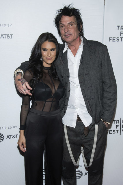 "Brittany Furlan and Tommy Lee attend the world premiere of ""The American Meme"" at the 2018 Tribeca Film Festival on Friday, April 27, 2018, in New York. (Photo by Charles Sykes/Invision/AP Photo)"