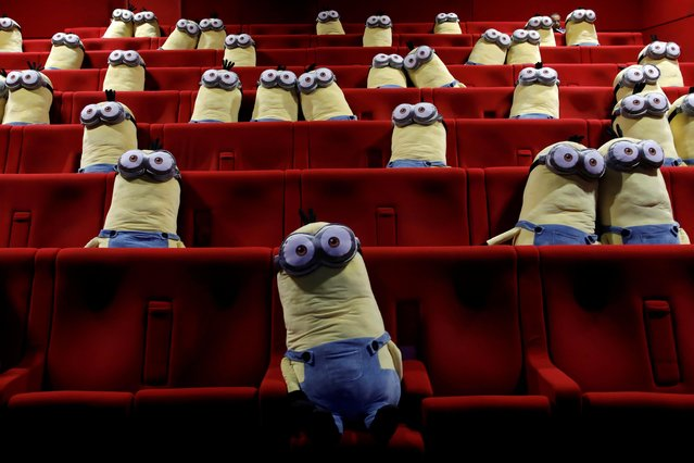 Minions toys are seen on cinema chairs to maintain social distancing between spectators at a MK2 cinema in Paris as Paris' cinemas reopen doors to the public following the coronavirus disease (COVID-19) outbreak in France, June 22, 2020. (Photo by Benoit Tessier/Reuters)