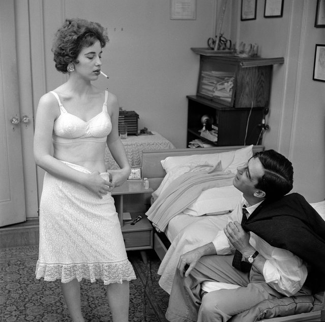 circa 1955:  A young actress who has come to New York to seek fame and fortune, offering her body to a client after resorting to prostitution to fund her way.  (Photo by Vecchio/Three Lions/Getty Images)