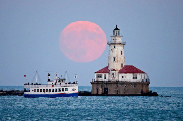 The moon rises over the Chicago, US harbour lighthouse on the eve of the supermoon on November 13, 2016. (Photo by Jerry Lai/ddp USA/Rex Features/Shutterstock)