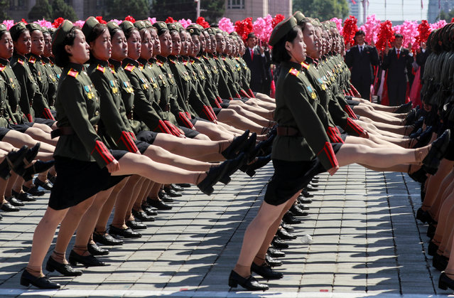 Soldiers march during a military parade marking the 70th anniversary of North Korea's foundation in Pyongyang, North Korea on September 9, 2018. (Photo by Danish Siddiqui/Reuters)
