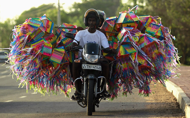 A man transports lanterns for decorations on his motorbike ahead of Vesak Day celebrations in Colombo May 4, 2012. (Photo by Dinuka Liyanawatte/Reuters)