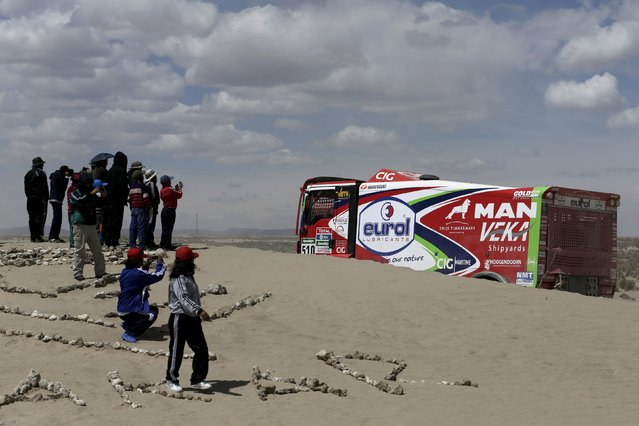 Pieter Versluis of the Netherlands drives his MAN truck during the Dakar Rally 2016 in Chulluquiani, Oruro Department Bolivia, January 8, 2016. (Photo by David Mercado/Reuters)