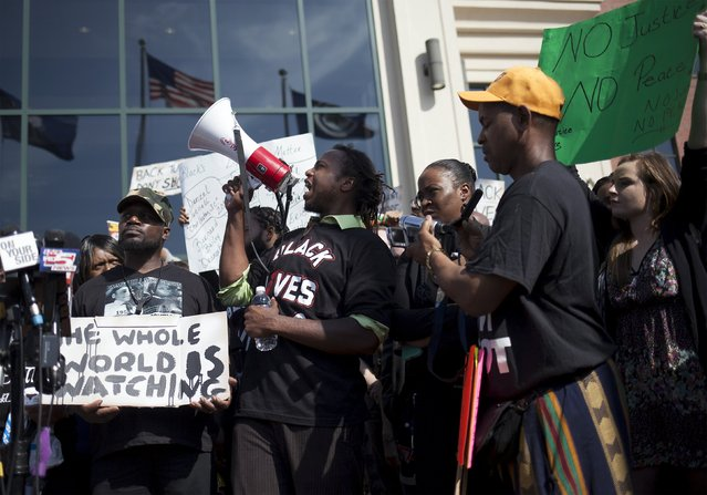 Muhiydin Moye D'Baha of the Black Lives Matter movement leads the protest at a rally in North Charleston, South Carolina April 8, 2015. (Photo by Randall Hill/Reuters)