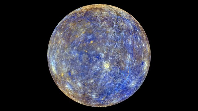 An image of the planet Mercury produced by NASA'S MErcury Surface, Space ENvironment, GEochemistry, and Ranging, or MESSENGER probe is seen in an undated picture released April 16, 2015. These colors are not what Mercury would look like to the human eye, but rather the colors enhance the chemical, mineralogical, and physical differences between the rocks that make up Mercury's surface, according to NASA. (Photo by Reuters/NASA/Johns Hopkins University Applied Physics Laboratory/Carnegie Institution of Washington)