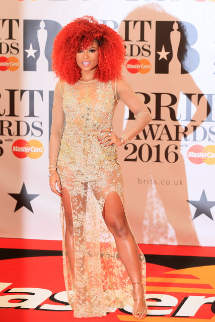 British singer Fleur East arrives at the BRIT Awards at the O2 arena in London, February 24, 2016. (Photo by Paul Hackett/Reuters)