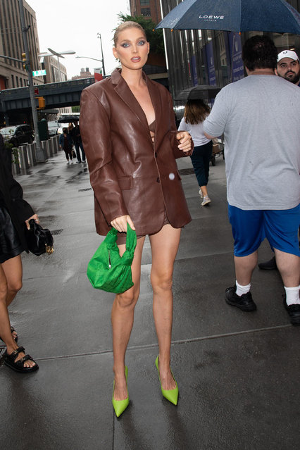 Swedish model and former Victoria's Secret Angel Elsa Hosk attended the Revolve Gallery event in New York on September 9, 2021 in a brown leather blazer by Lamarque. (Photo by Janet Mayer/Startraksphoto.com)