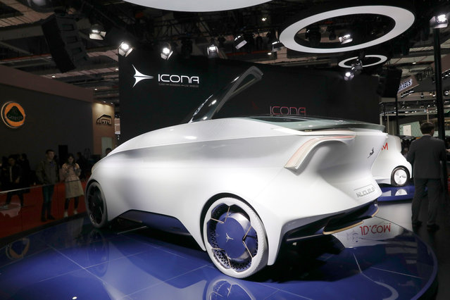 An Icona Nucleus self-driving electric concept car sits on display during the media day of the Auto Shanghai 2019 motor show in Shanghai, China, 16 April 2019. (Photo by Wu Hong/EPA/EFE)