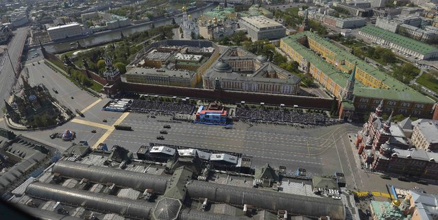 An aerial view of the Victory Day parade at Red Square in Moscow, Russia, May 9, 2015. (Photo by Reuters/Host Photo Agency/RIA Novosti)