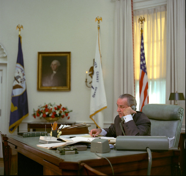 President Lyndon Johnson talks on the telephone at the White House in Washington, D.C. on an unknown date. Lyndon Baines Johnson was the 36th U.S. Presdident serving from 1963 – 1969.  (Photo by AP Photo/LBJ Library)