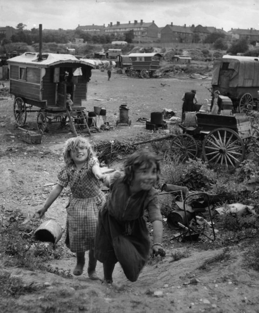 Gypsy children play in squalid and overcrowded encampment at Corke's Meadow, Kent, 28th July 1951. (Photo by Bert Hardy/Picture Post/Getty Images)