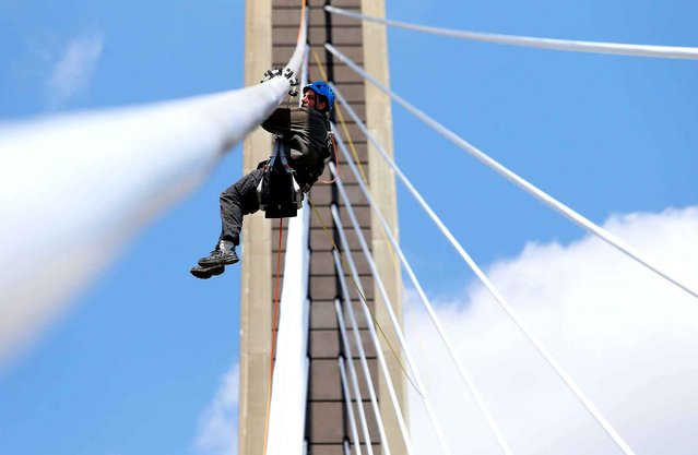 A worker moves down a suspension cable as the West Virginia Division of Highways conducts an inspection of the 31st Street Bridge, Tuesday, April 8, 2014, in Huntington, W.Va. (Photo by Sholten Singer/AP Photo/The Herald-Dispatch)
