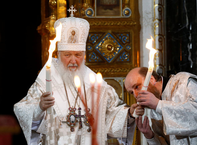 Patriarch of Moscow and All Russia Kirill conducts the Orthodox Easter service at the Christ the Saviour Cathedral in Moscow, Russia, April 30, 2016. (Photo by Sergei Karpukhin/Reuters)