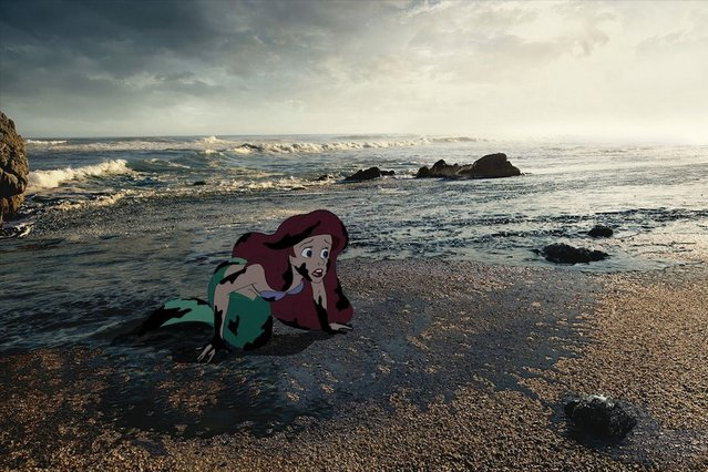 The Little Mermaid finds herself washed-up in oil. (Photo by Jeff Hong)