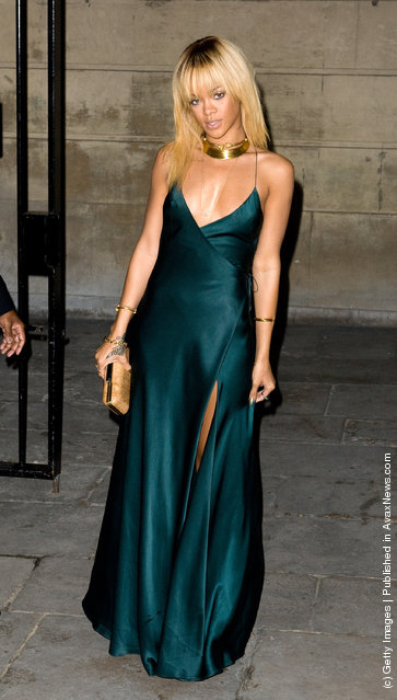Rihanna arrives for the Stella McCartney Special Presentation at 13 North Audley Street during London Fashion Week Autumn/Winter 2012