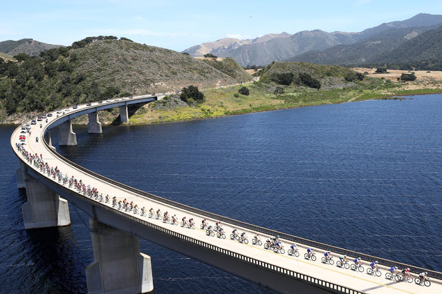 The peloton rides across Twitchell Reservoir during stage 3 of the AMGEN Tour of California from Pimo Beach to Morro Bay on May 16, 2017 in Morro Bay, California. (Photo by Chris Graythen/Getty Images)
