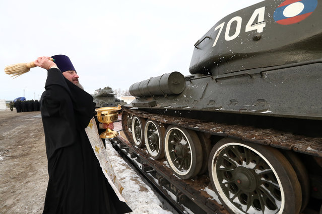 Welcoming thirty Soviet WWII-era T-34 battle tanks handed over by Laos to Russia in the town of Naro-Fominsk outside Moscow, Russia on January 20, 2019. On January 9, 2019, the tanks arrived in the Russian Far Eastern city of Vladivostok to be sent by rail to Naro-Fominsk. Laos' Defence Ministry handed over the tanks as part of the Lao-Russian military cooperation programme. The tanks are to be used in military parades and films about the Second World War. (Photo by Stanislav Krasilnikov/TASS)