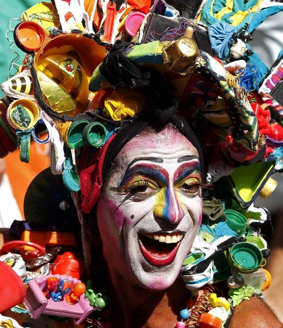 A reveler participates in the Banda de Ipanema parade in Rio de Janeiro