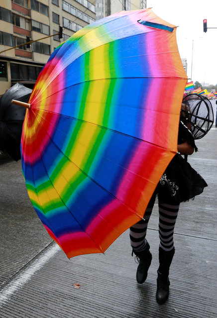 A reveller attends an annual gay pride parade in Bogota, Colombia, July 3, 2016. (Photo by John Vizcaino/Reuters)