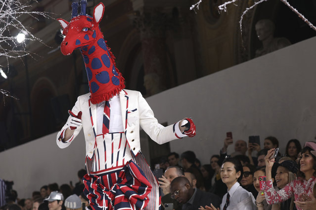 A model wears a creation for the Thom Browne fashion collection during Women's fashion week Fall/Winter 2020/21 presented in Paris, Sunday, March 1, 2020. (Photo by Vianney Le Caer/Invision/AP Photo)