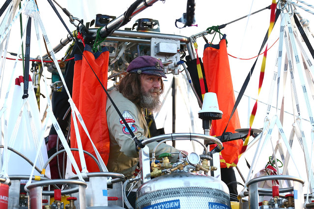 Fedor Konyukhov prepares for lift off from the Northam Aero Club on July 12, 2016 in Northam, Australia. (Photo by Paul Kane/Getty Images)