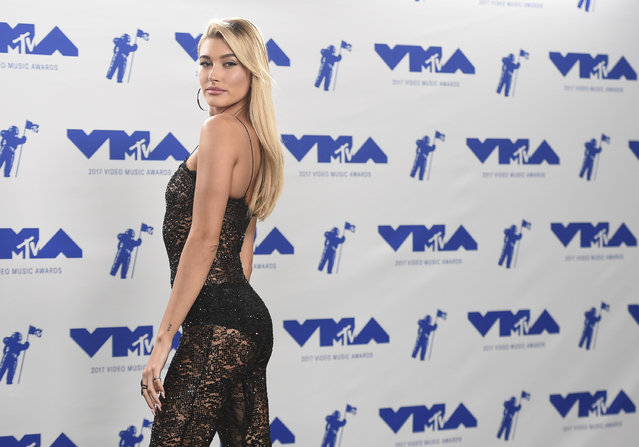 Hailey Baldwin poses in the press room at the MTV Video Music Awards at The Forum on Sunday, August 27, 2017, in Inglewood, Calif. (Photo by Jordan Strauss/Invision/AP Photo)