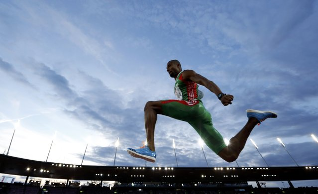 Nelson Evora of Portugal competes in the men's triple jump final during the European Athletics Championships at the Letzigrund Stadium in Zurich August 14, 2014. (Photo by Phil Noble/Reuters)