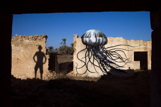 """A mural by Belgian artist ROA decorates an abandoned wall in the surrounding area of the village of Erriadh, on the Tunisian island of Djerba, on August 7, 2014, as part of the artistic project """"Djerbahood"""". (Photo by Joel Saget/AFP Photo)"""
