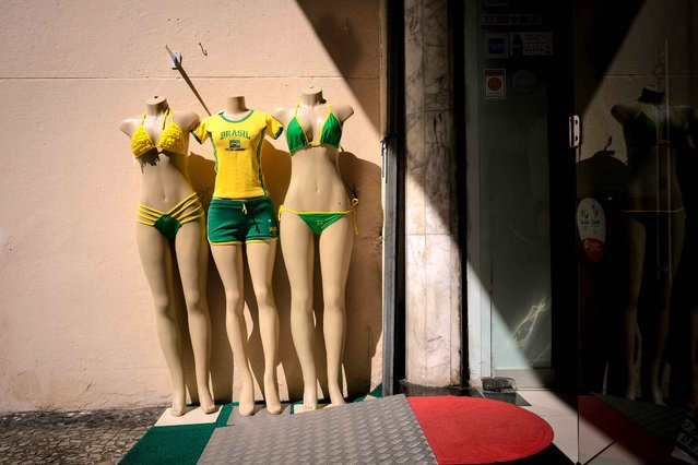 Brazilian bikinis are displayed outside a shop near Copacabana beach in Rio de Janeiro on August 4, 2016 on the eve of the opening of the Rio 2016 Olympic Games. (Photo by Leon Neal/AFP Photo)