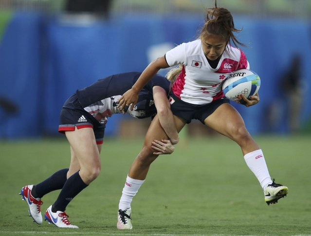 2016 Rio Olympics, Rugby, Preliminary, Women's Pool C Britain vs Japan, Deodoro Stadium, Rio de Janeiro, Brazil on August 6, 2016. Danielle Waterman (GBR) of United Kingdom tackles Marie Yamaguchi (JPN) of Japan. (Photo by Phil Noble/Reuters)