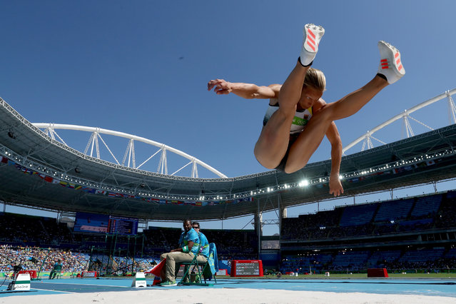 Jennifer Oeser of Germany competes in the Women's Heptathlon Long Jump on Day 8 of the Rio 2016 Olympic Games at the Olympic Stadium on August 13, 2016 in Rio de Janeiro, Brazil. (Photo by Alexander Hassenstein/Getty Images)