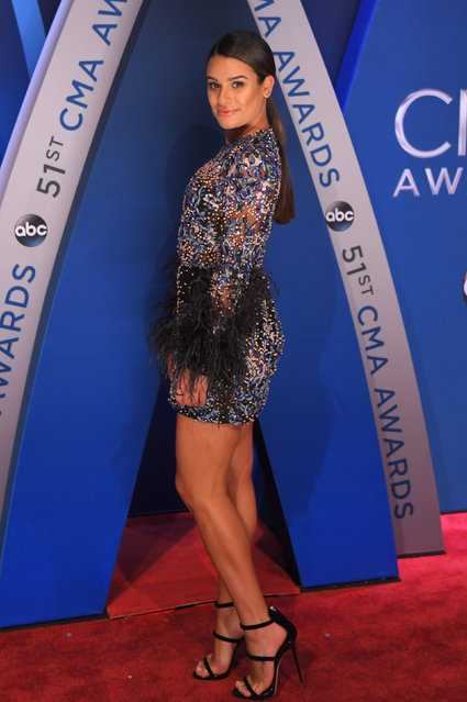 Lea Michelle pose in the press room at the 51st annual CMA Awards at the Bridgestone Arena on Wednesday, November 8, 2017, in Nashville, Tennessee. (Photo by Harrison McClary/Reuters)