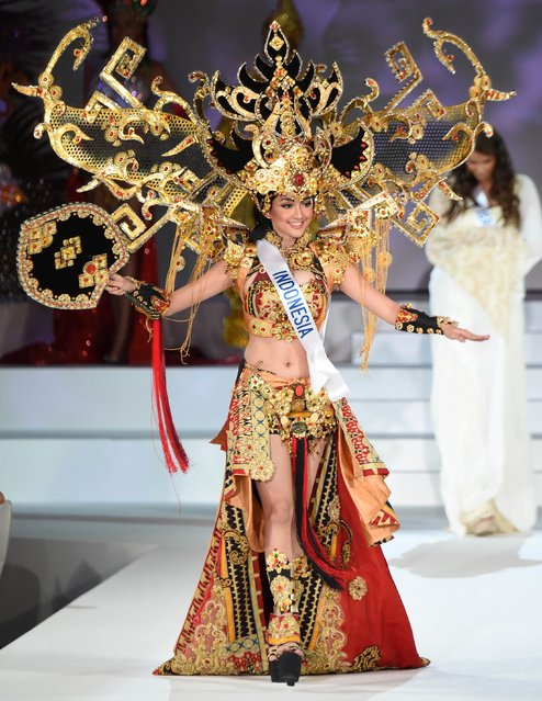 Miss Indonesia Elfin Pertiwi Rappa appears on the stage during the Miss International 2014 during the Miss International 2014 Beauty Pageant in Tokyo on November 11, 2014. The 19-year-old student was chosen the Miss National Costume. (Photo by Toru Yamanaka/AFP Photo)